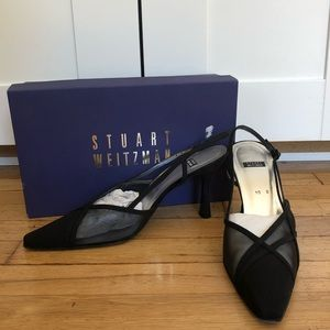Stuart Weitzman Black Silk Premier Heels With Box
